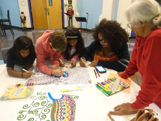 Color-in poster engaging the young and old